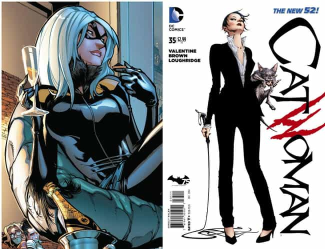 Black Cat and Catwoman Becomin... is listed (or ranked) 1 on the list 12 Times Marvel and DC Ripped Each Other Off