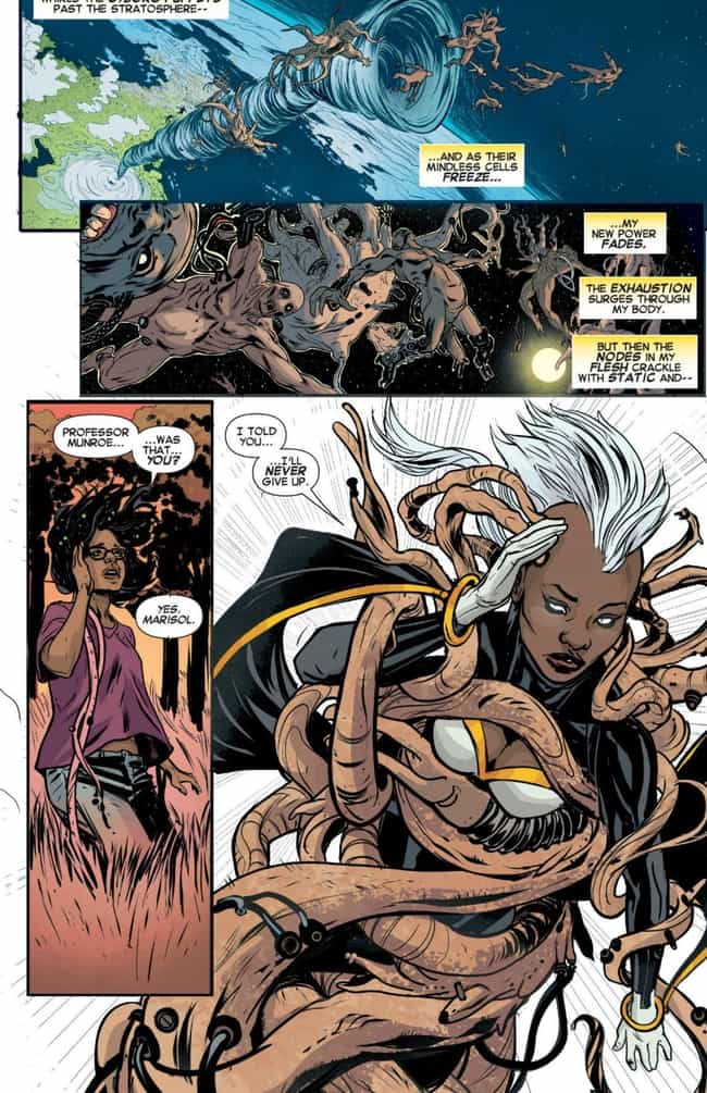 Storm Sends Her Enemies Into O... is listed (or ranked) 2 on the list The 13 Worst Natural Disasters in Comic Book History