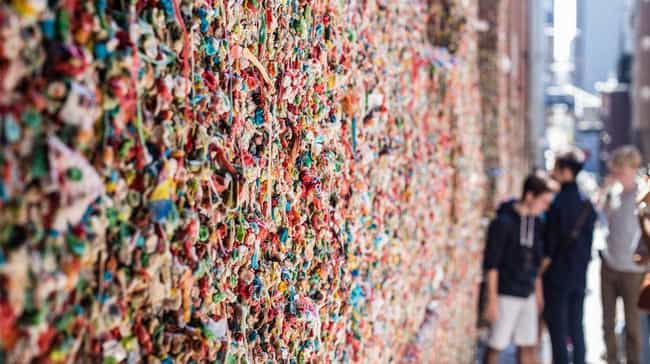 The Market Theater Gum Wall is listed (or ranked) 1 on the list Primally Disgusting And Bizarre Monuments From Around The World