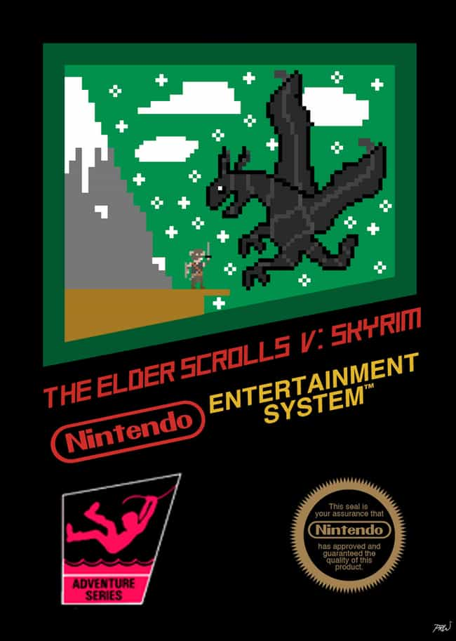 The Elder Scrolls V: Skyrim is listed (or ranked) 5 on the list 24 Modern Games Reimagined as NES Covers