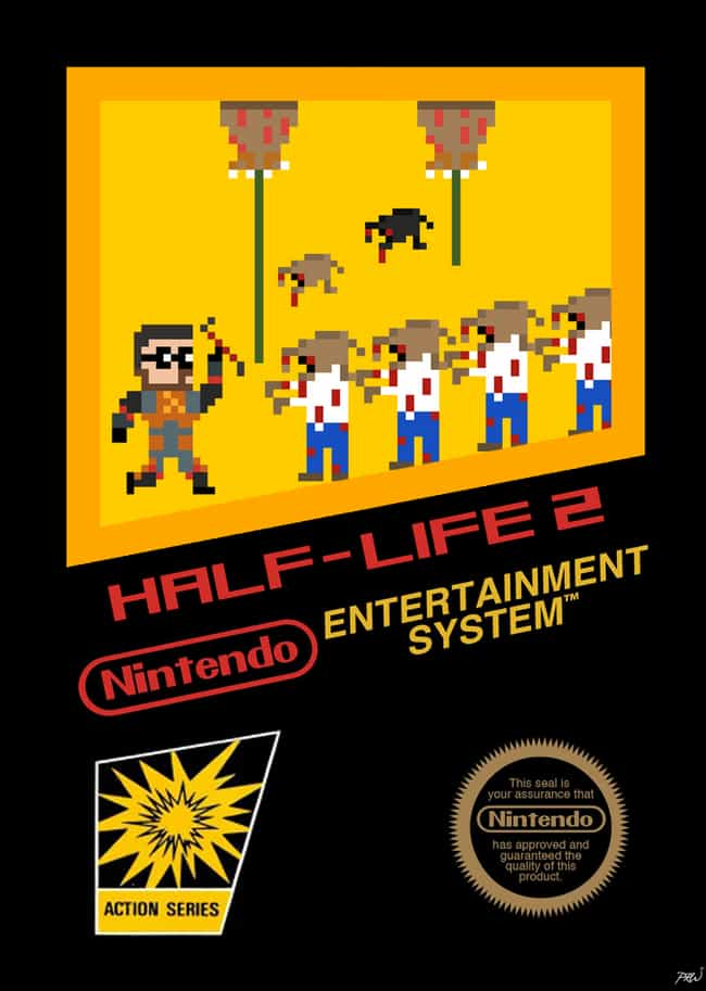 Half Life 2 is listed (or ranked) 7 on the list 24 Modern Games Reimagined as NES Covers