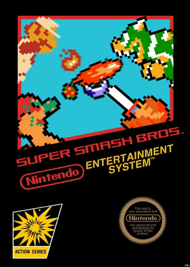 Super Smash Bros. is listed (or ranked) 3 on the list 24 Modern Games Reimagined as NES Covers