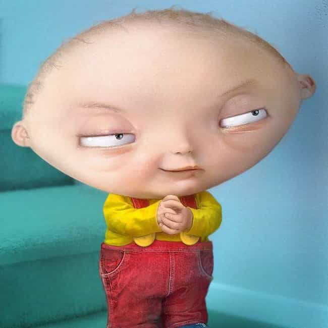 Beef Stewie is listed (or ranked) 4 on the list 21 Horrifyingly Realistic Versions Of Your Favorite Cartoon Characters