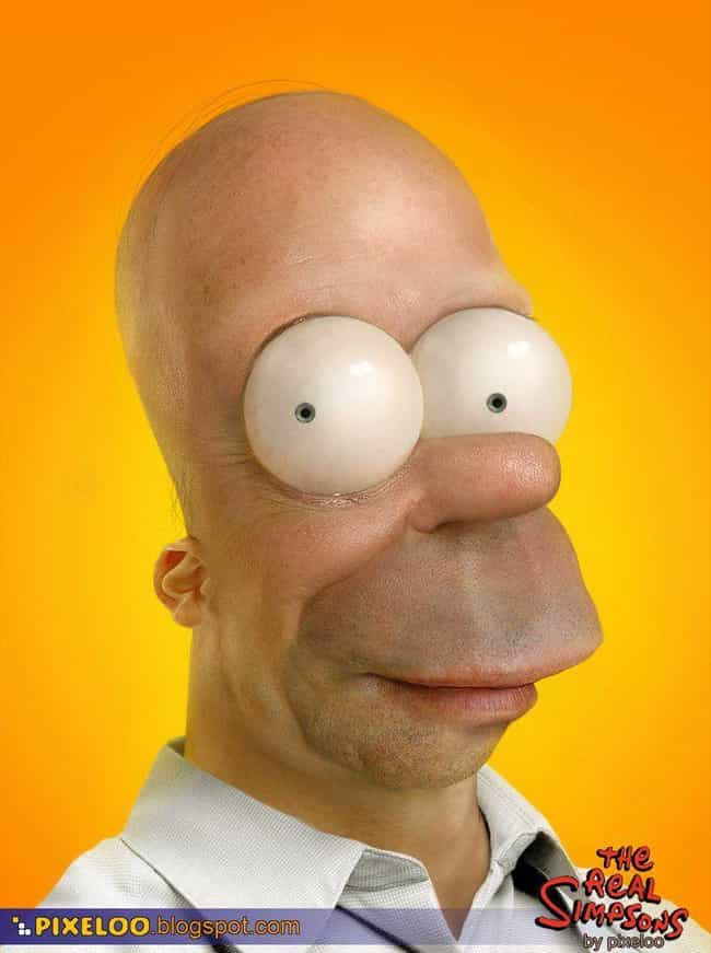 Homer's Where The Heart ... is listed (or ranked) 2 on the list 13 Horrifyingly Realistic Versions Of Your Favorite Cartoon Characters