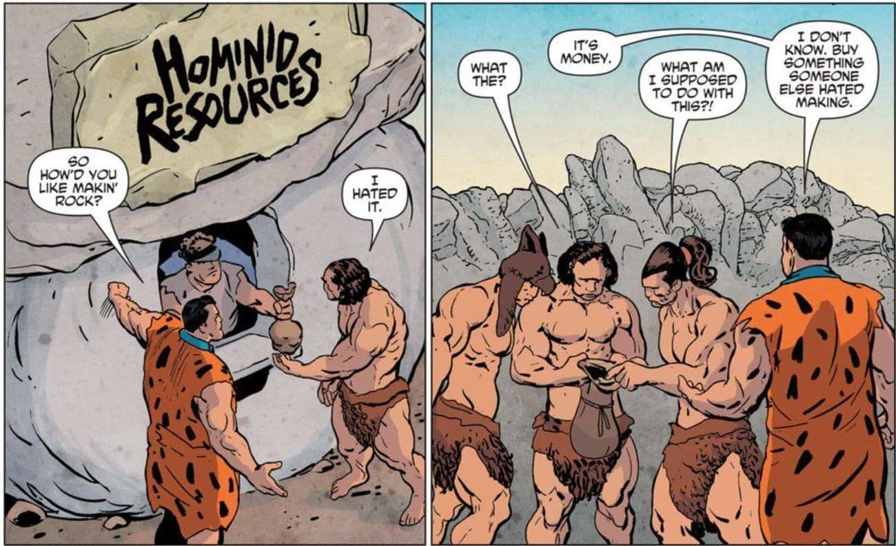 It Offers a Sharp Critique of  is listed (or ranked) 1 on the list Brilliant Flintstones Comics from DC