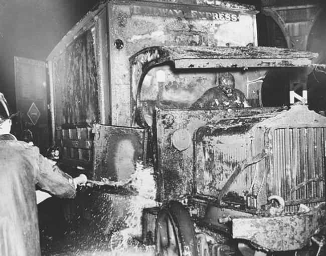 Delivery Driver in Burning Tru... is listed (or ranked) 2 on the list 12 Shocking and Gruesome Photos by Weegee, the Famous Crime Scene Photographer