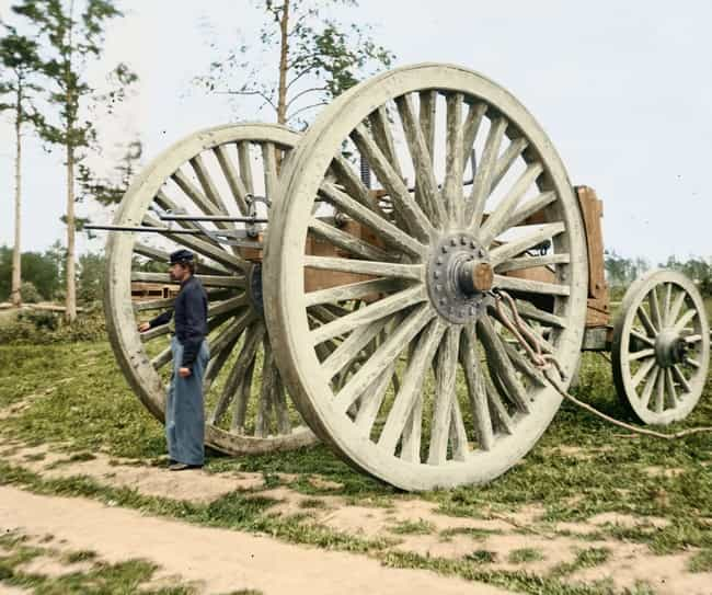 Soldier Next To Sling Ca... is listed (or ranked) 3 on the list 21 Colorized Photos So Vivid They'll Change How You See the Civil War