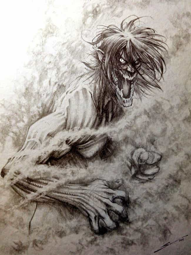 Eren as a Titan as an Etching is listed (or ranked) 4 on the list 22 Incredible Pieces of Attack on Titan Fan Art