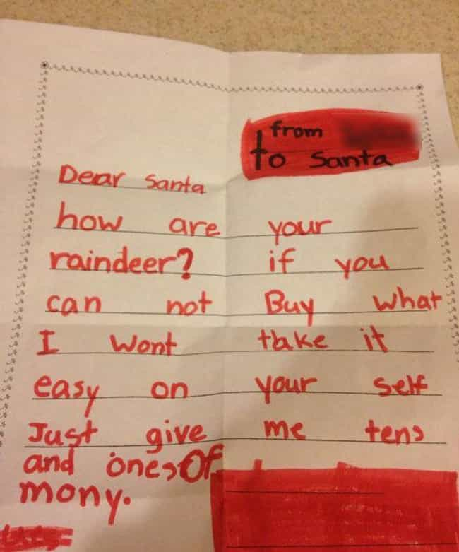 Making It Rein is listed (or ranked) 4 on the list 25+ Hilarious Letters to Santa That May Worry You About Kids Today