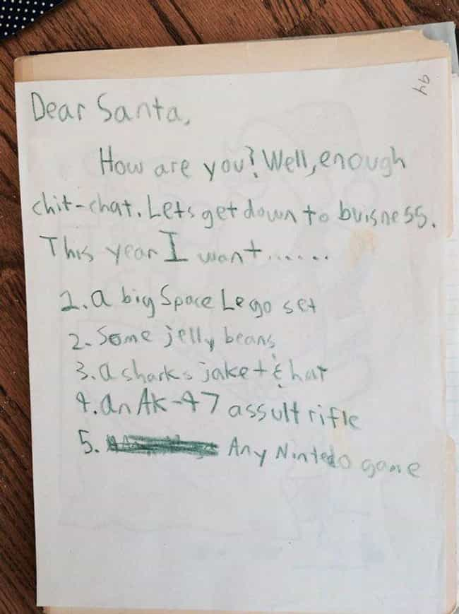 Getting Down to the Busi... is listed (or ranked) 1 on the list 25+ Hilarious Letters to Santa That May Worry You About Kids Today