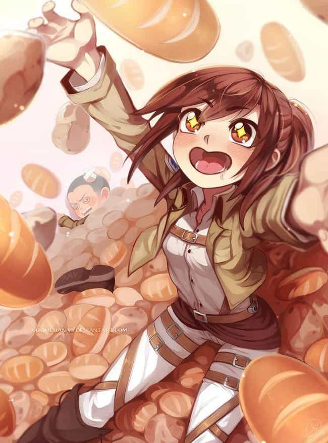 Sasha Looooves Food is listed (or ranked) 2 on the list 22 Incredible Pieces of Attack on Titan Fan Art