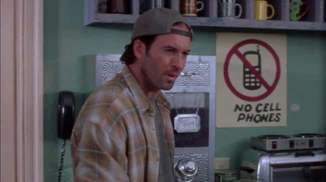 """Luke's Infamous """"No Cell ... is listed (or ranked) 1 on the list The Best Posters in the Background on Gilmore Girls"""