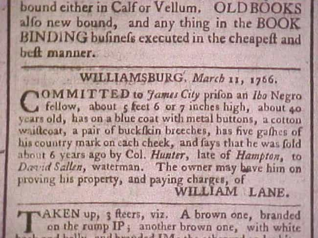 He Had Five Gashes on Hi... is listed (or ranked) 2 on the list 14 Shocking Escaped Slave Ads From the 19th-Century