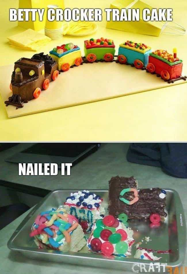 Betty Crocker Train Dera... is listed (or ranked) 2 on the list 28 Christmas Pinterest Fails That Almost Ruined the Holidays