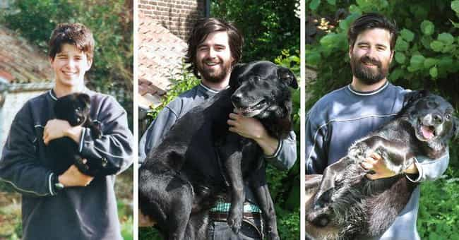 """Three Times The """"Aw... is listed (or ranked) 1 on the list Adorable Before-And-After Photos Of Dogs Growing Up With Their Humans"""