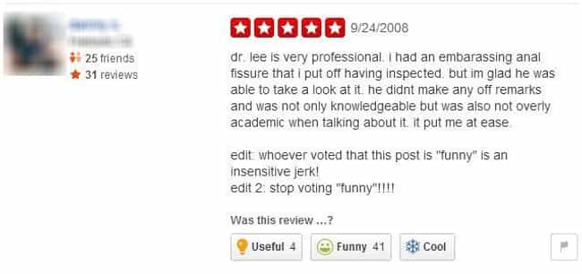 Yelp Anal-ysis is listed (or ranked) 2 on the list The Funniest Yelp Reviews Ever