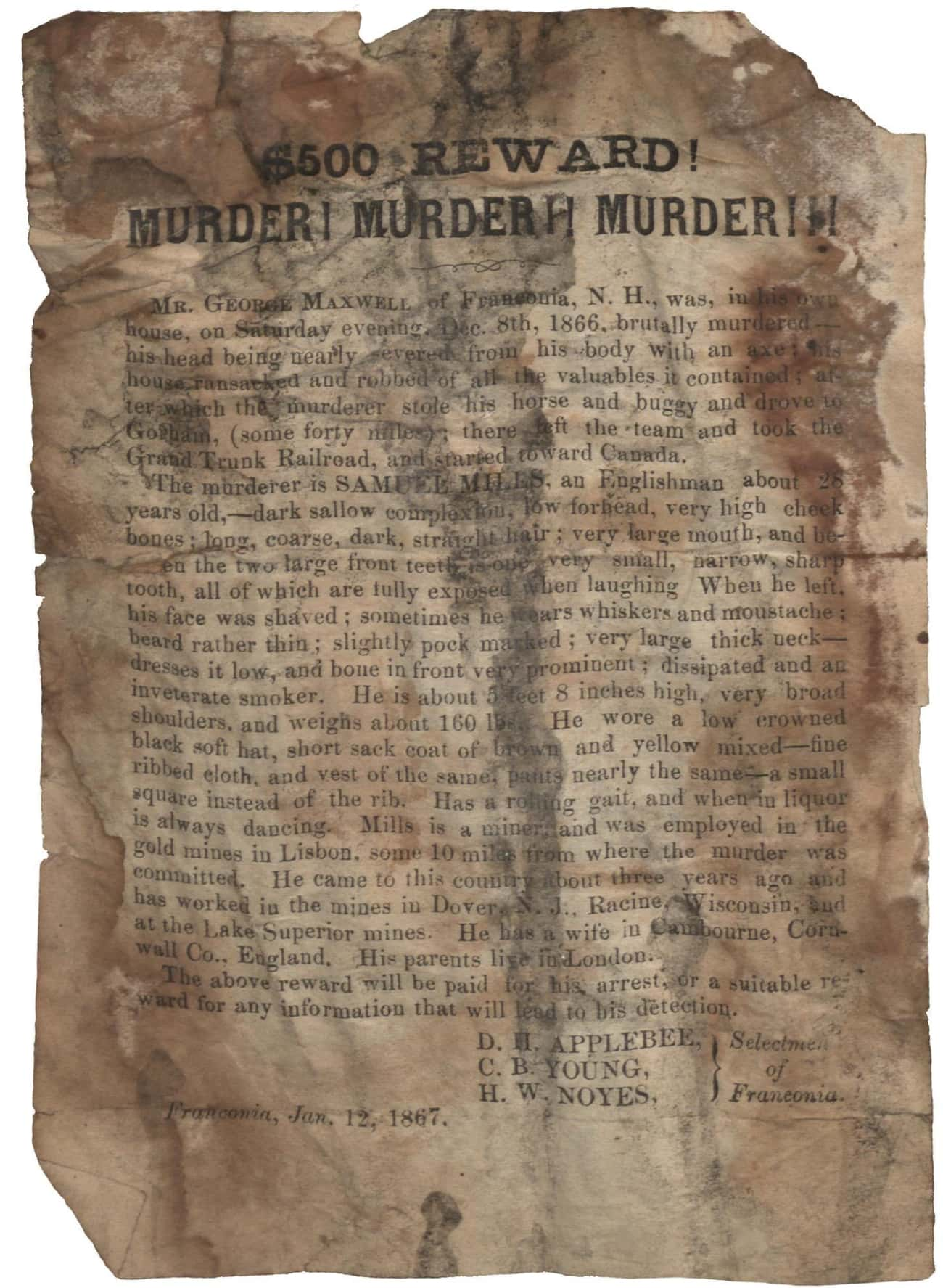 $500 Reward! Murder! Murder! M is listed (or ranked) 4 on the list 20 Real Wanted Posters for Old West Outlaws