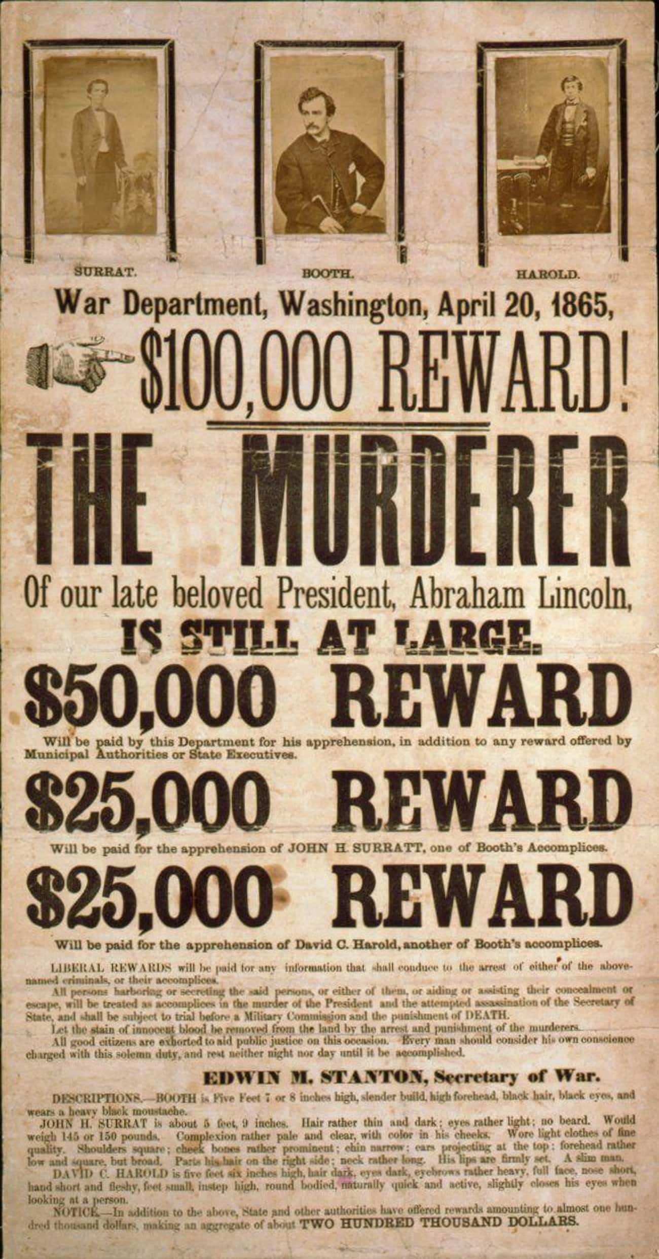 John Wilkes Booth Wanted Poste is listed (or ranked) 1 on the list 20 Real Wanted Posters for Old West Outlaws