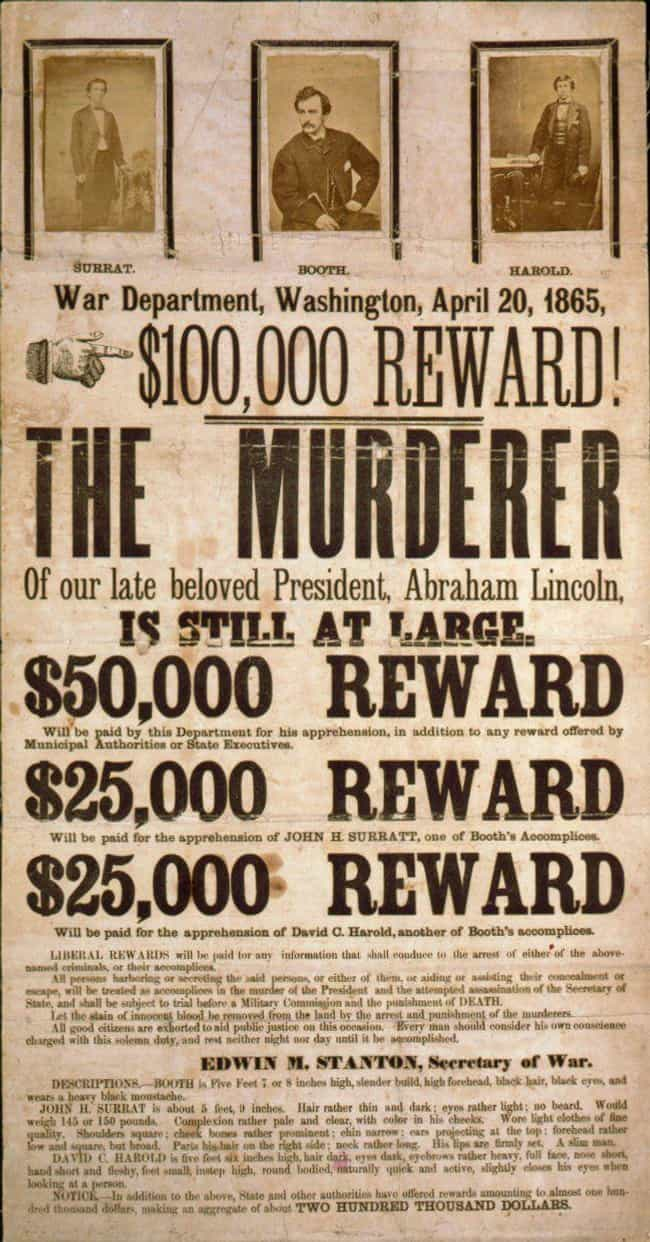 John Wilkes Booth Wanted Poste... is listed (or ranked) 1 on the list 20 Real Wanted Posters for Old West Outlaws