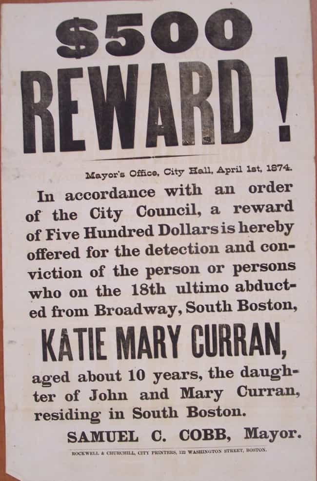 Abduction of Katie Mary Curran... is listed (or ranked) 3 on the list 20 Real Wanted Posters for Old West Outlaws