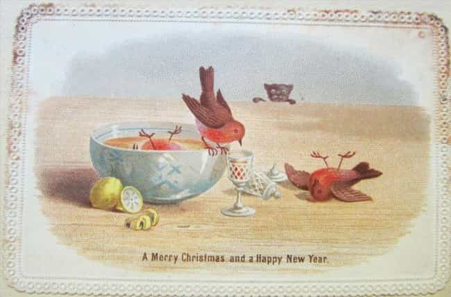 'A Merry Christmas and a... is listed (or ranked) 4 on the list 25 Bizarre and Disturbing Victorian Christmas Cards
