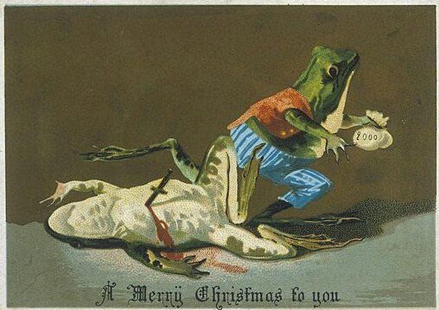 Random Bizarre and Disturbing Victorian Christmas Cards