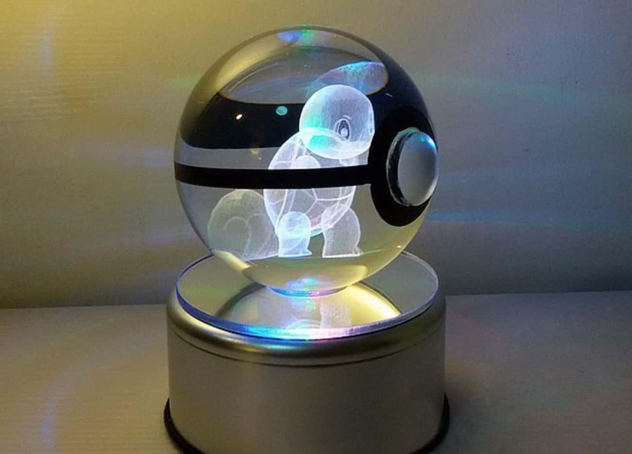 Crystal Pokeball With Rotating LED Base