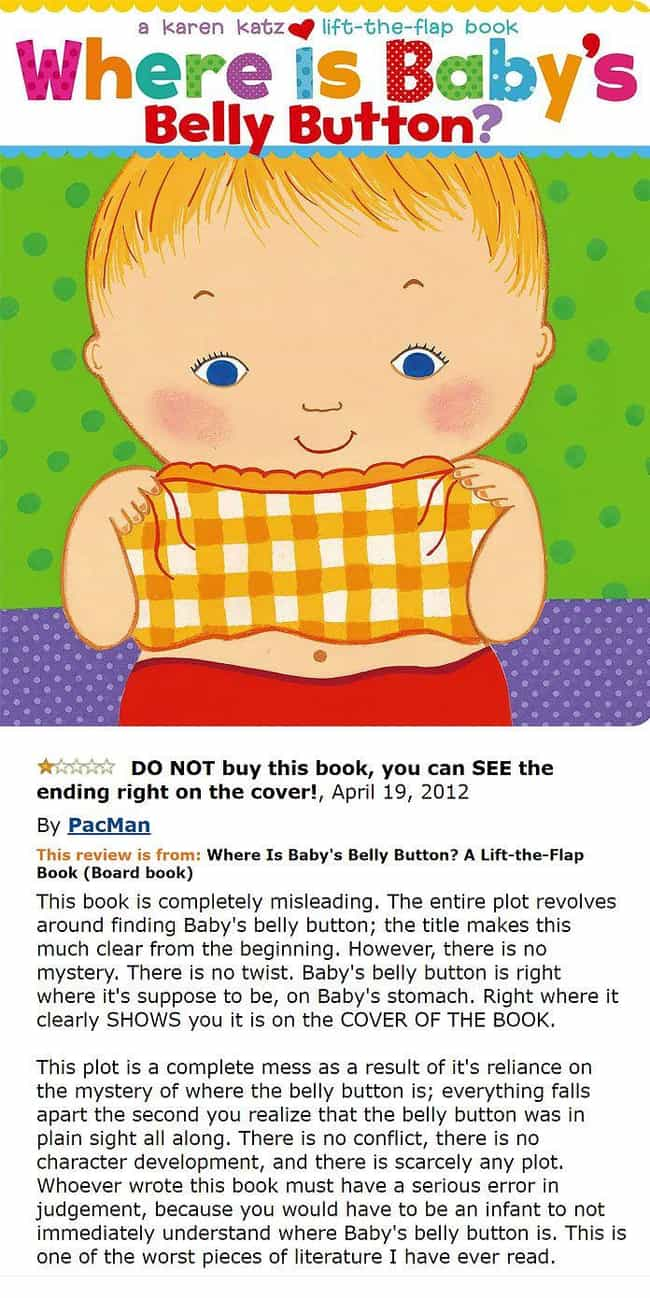 Going Belly Up is listed (or ranked) 4 on the list The Most Hilarious Amazon Reviews Ever Written