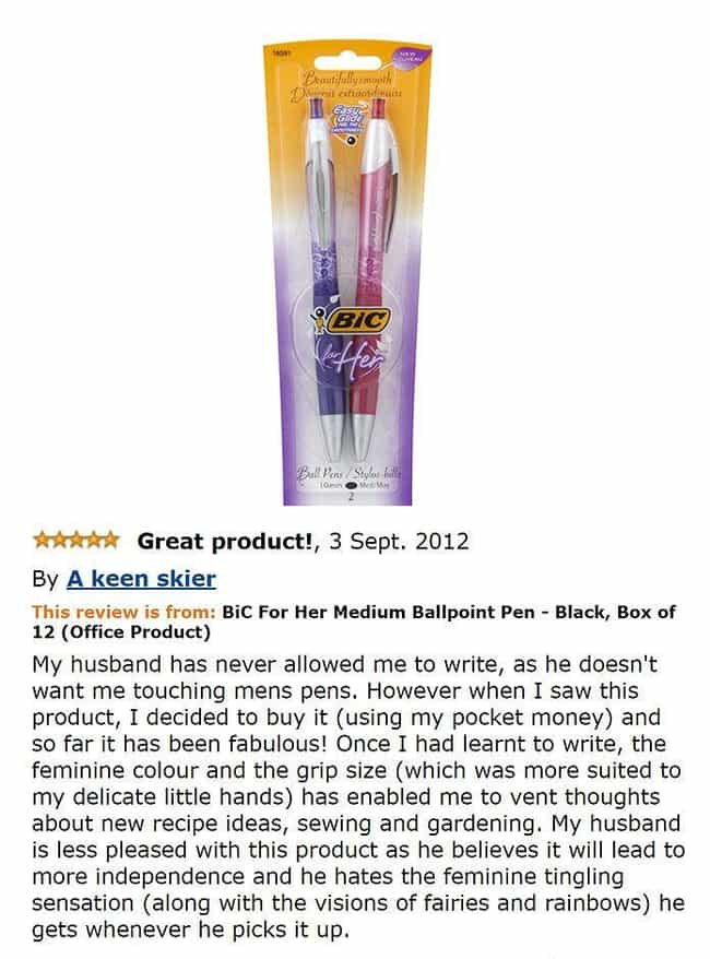 The Pen Is Truly Mightie... is listed (or ranked) 3 on the list The Most Hilarious Amazon Reviews Ever Written