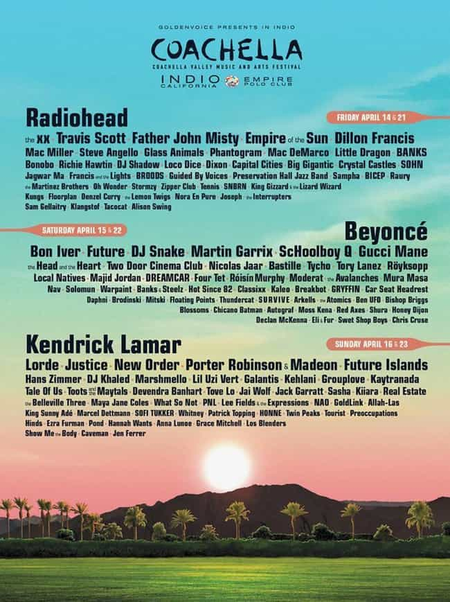 Coachella 2017 is listed (or ranked) 2 on the list The Best Coachella Year Ever
