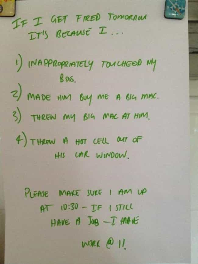 Office Party Fail List is listed (or ranked) 4 on the list 28 Helpful Notes Written By Drunk People To Their Sober Selves