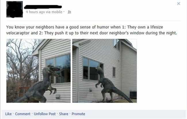 Welcome To Jurassic Yard... is listed (or ranked) 2 on the list 22 People Who Pranked Their Neighbors In Epic Ways