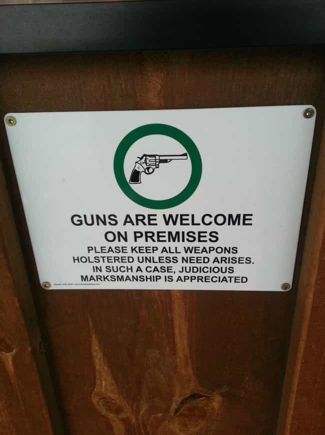 Welcome Party is listed (or ranked) 3 on the list 16 Funny Firearm Store Signs That Will Blow You Away