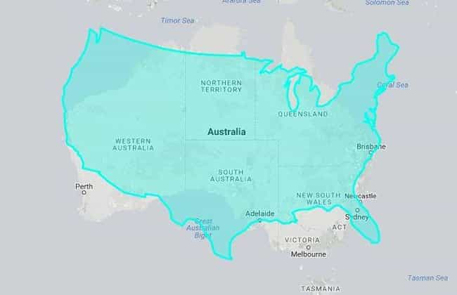 United States Vs. Australia is listed (or ranked) 1 on the list 18 True Size Maps That Prove Maps Have Been Lying To You