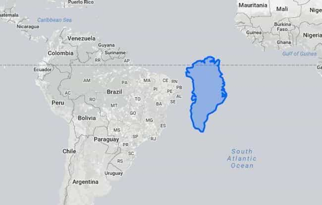 Greenland Vs. South America is listed (or ranked) 3 on the list 18 True Size Maps That Prove Maps Have Been Lying To You