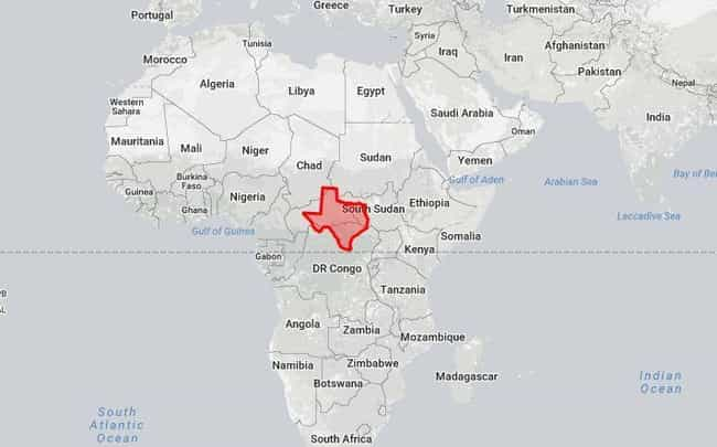 texas in africa is listed or ranked 2 on the list 18 true size