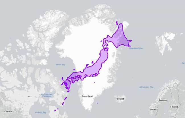 Japan Given The Greenland Trea... is listed (or ranked) 4 on the list 18 True Size Maps That Prove Maps Have Been Lying To You