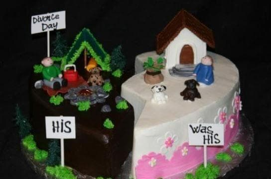 His And Hers on Random Divorce Cakes That Are As Blunt As They Are Beautiful
