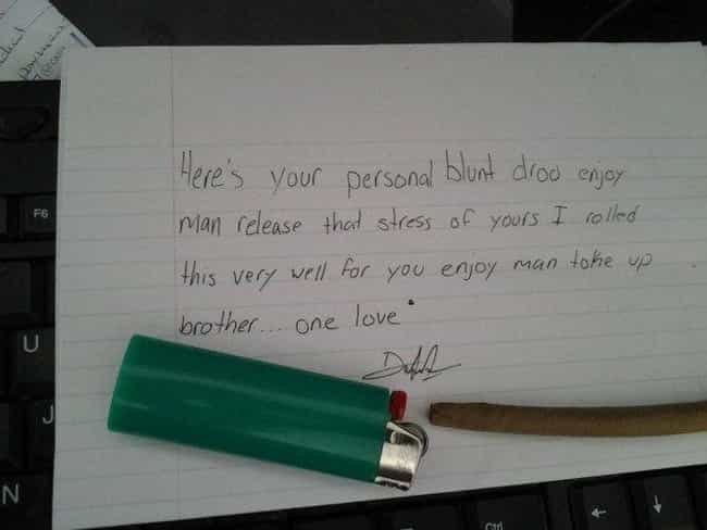 Joint Venture is listed (or ranked) 2 on the list Hilarious Notes Clearly Written By Stoners
