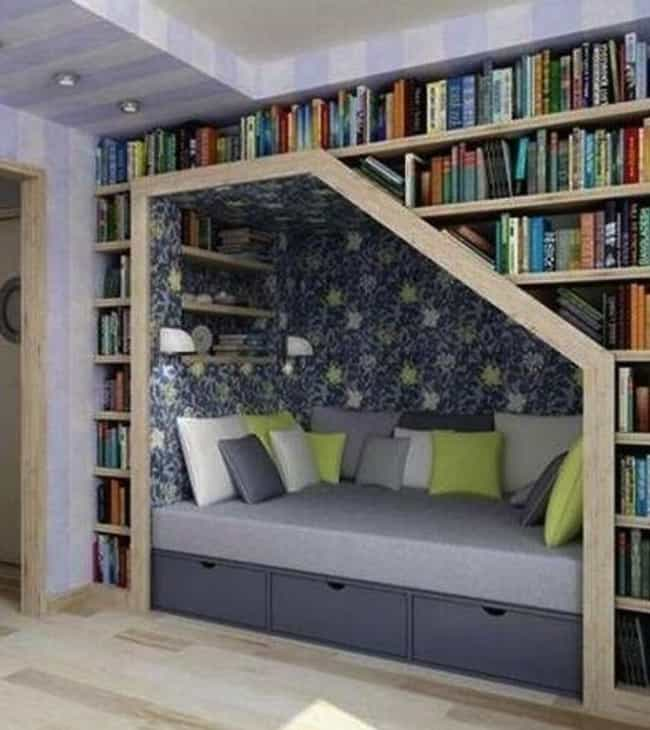 Bring Your Books To Bed is listed (or ranked) 1 on the list 23 Creative Bookshelves You'll Want In Your Future Home