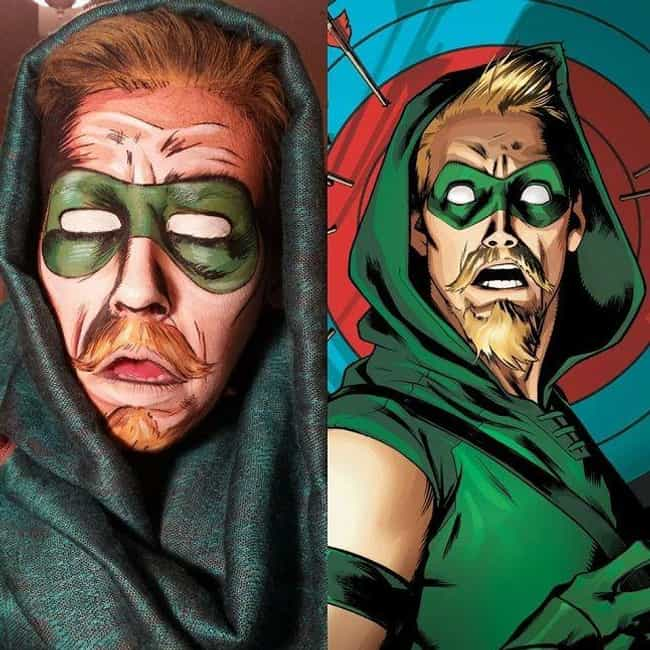 Going Green Arrow is listed (or ranked) 4 on the list 28 Pop Culture Face Paint Jobs That Are Freakishly Accurate