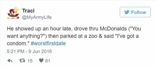 Zoo Daze is listed (or ranked) 1 on the list 27 Of The Most Cringeworthy Tweets About First-Date Disasters