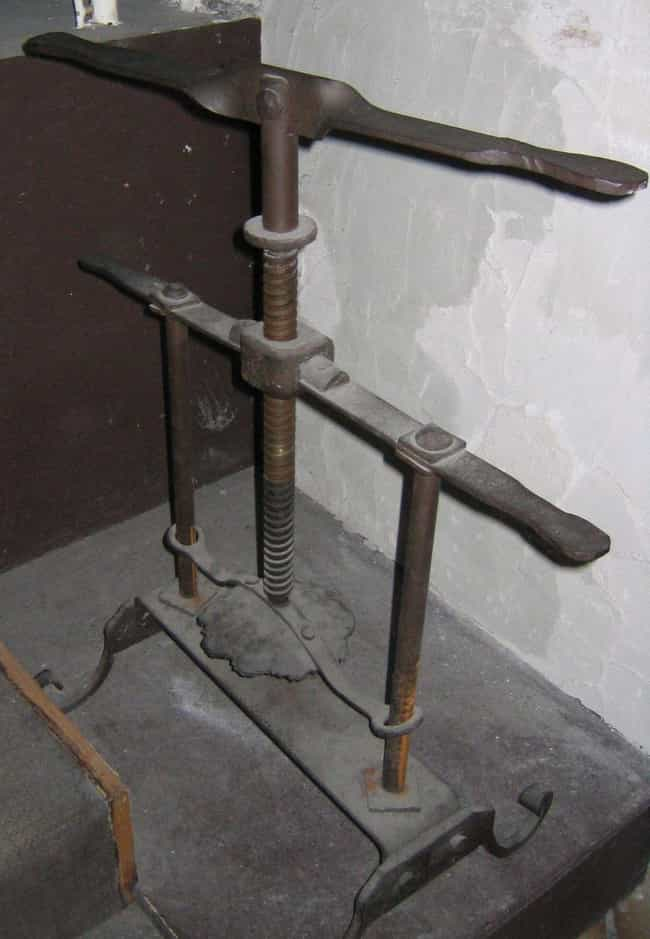 The Head Crusher is listed (or ranked) 2 on the list 12 Jaw-Droppingly Evil Torture Devices Used Throughout History