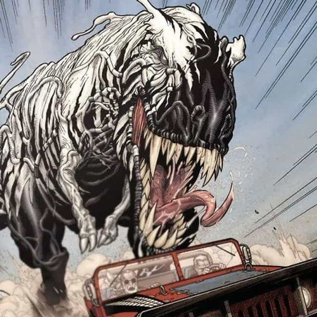 A Symbiote T-Rex is listed (or ranked) 4 on the list 13 Crazy Things From Old Man Logan Comic That Definitely Won't Be In The Movie