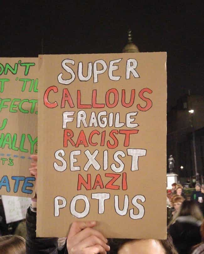 No Spoonful Of Anything ... is listed (or ranked) 1 on the list 30 Of The Cleverest Anti-Trump Protest Signs From Around The World