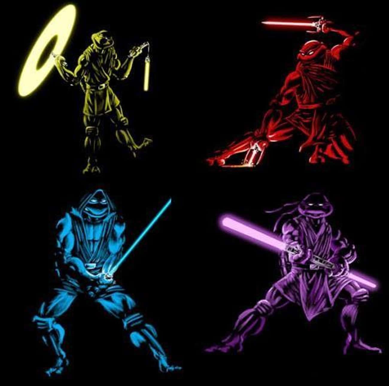 Teenage Mutant Jedi Turtles is listed (or ranked) 1 on the list 22 Pop Culture Icons Reimagined As Teenage Mutant Ninja Turtles