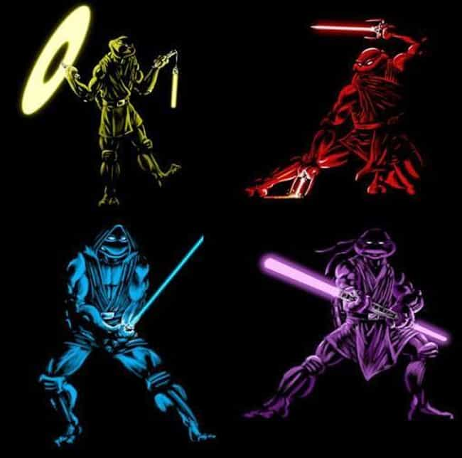 Teenage Mutant Jedi Turtles is listed (or ranked) 1 on the list 22 Pop Culture Icons Reimagined As Teenage Mutant Ninja Turtles