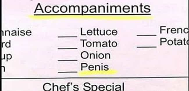 A Side Of Dick, Please is listed (or ranked) 2 on the list 26 Hilarious Menu Fails You Wish You Caught