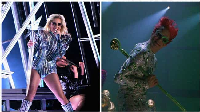 Gotham Is About To Party so Ha... is listed (or ranked) 4 on the list 17 Things Lady Gaga Looked Like At Super Bowl LI