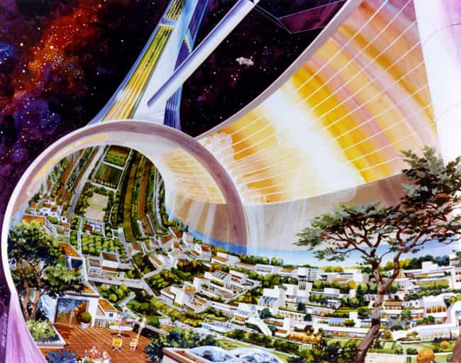 Toroidal Colony: Cutaway View,... is listed (or ranked) 1 on the list 16 Insane Concept Drawings of What 1970s Nasa Thought The Future Would Be